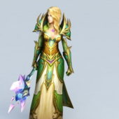 Female Character Paladin With War Hammer