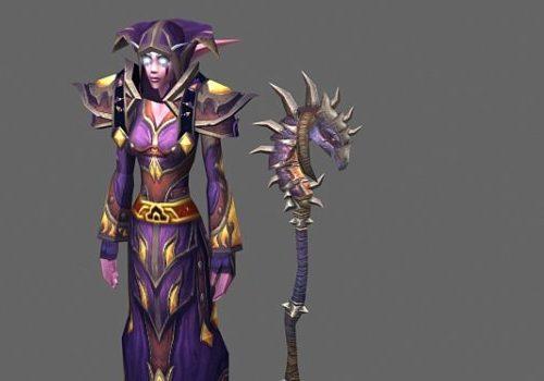 Night Elf Druid Female Game Character
