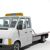 White Flatbed Tow Truck Car