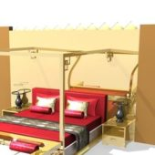Four Poster Hotel Bed Full Set