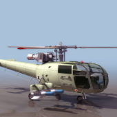 French Military Alouette Helicopter