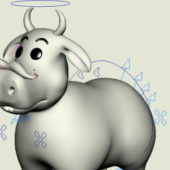 Funny Cow Cartoon Animal Rigged
