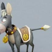 Funny Cute Donkey Cartoon Character