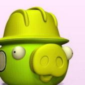 Funny Pig Cartoon Character