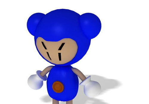 Blue Funny Cartoon Character