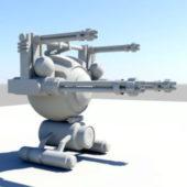 Futuristic Gun Turret Weapon