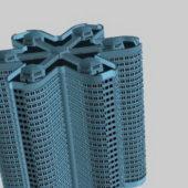 Futuristic City Apartment Building