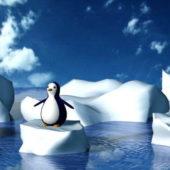 Cartoon Glacier Penguin