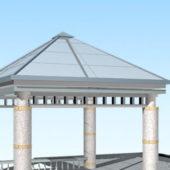 Glass Roof Square Gazebo