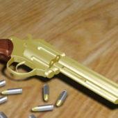 Weapon Golden Revolver Gun And Bullets