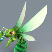 Cartoon Green Honey Bee