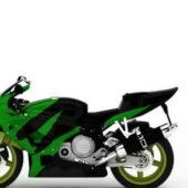 Green Kawasaki Sport Motorcycle