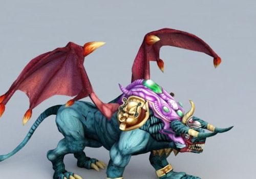 Cartoon Half Lion Dragon