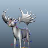 Irish Elk Animal Rigged