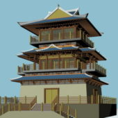 Japanese Ancient Buddhist Pagoda Building