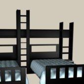 Kids Room Furniture Black Wood Twin Beds