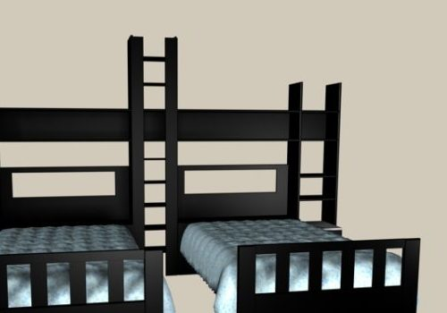 Kids Room Furniture Black Wood Twin Beds