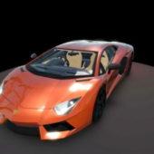 Orange Lamborghini Aventador Car