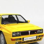 Yellow Lancia Delta Car