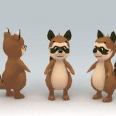 Lowpoly Cartoon Raccoon Animal