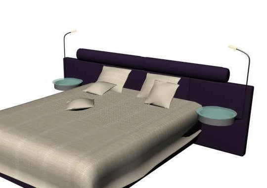 Luxury Bed With Night Tables Furniture