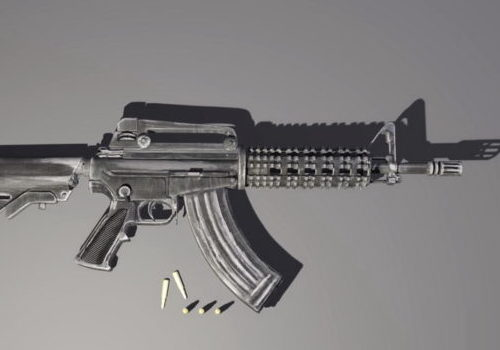 Military M4 Carbine Gun With Bullet