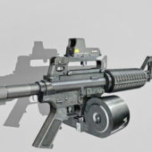 Military Gun M4a1 Double-drum