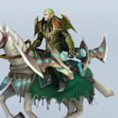 Male Character Elf Warrior Riding Horse