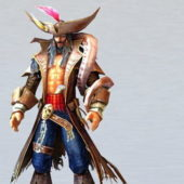 Male Pirate Captain Game Character