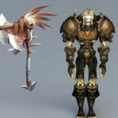 Male Undead Warrior Game Character