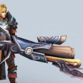 Male Character Warrior With Gun