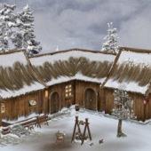 Wooden Medieval Winter Farmhouse