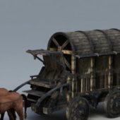 Medieval Vintage Heavy Horse Wagon