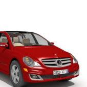 Red Mercedes Benz Hatchback Car