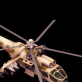 Military Mi-24a Hind-b Attack Helicopter
