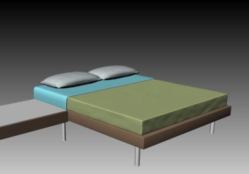 Minimalism Double Bed Nightstand