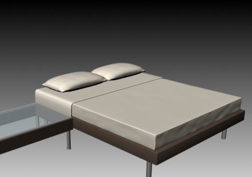 Simple Double Bed With Bedside Table