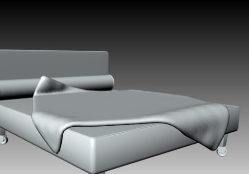 Movable Double Bed Lowpoly
