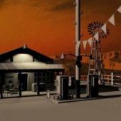 Vintage Gas Station Building