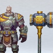 Old Character Paladin With Hammer