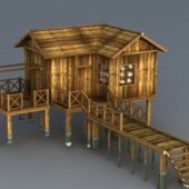 Old Wooden Beach Cabin House