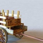 Old Ancient Wooden Barrel Cart