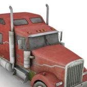 Old Red Head Semi Truck