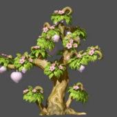 Nature Peach Tree Cartoon