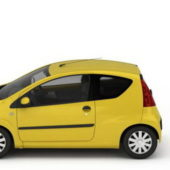 Yellow Peugeot 107 Mini Car