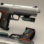 Pistol Gun With Laser Sight
