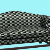 Home Plaid Fabric Settee Furniture