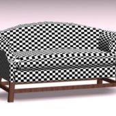 Furniture Plaid Settee Sofa