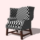 Furniture Plaid Wingback Chair