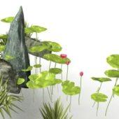 Pond Lotus With Rock Decor